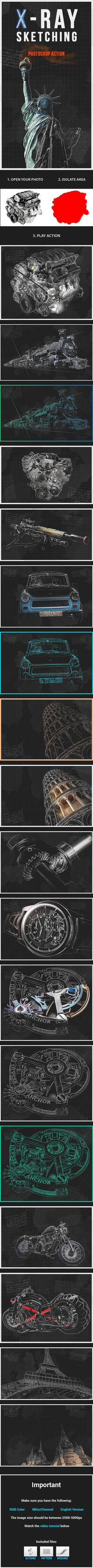 X-Ray Sketching Photoshop Action