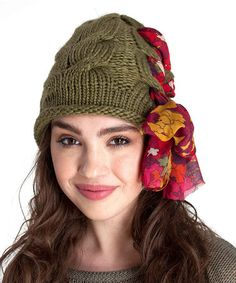 ac6720f00cfa Take a look at this Olive Cable-Knit Floral Beanie by The Sak on