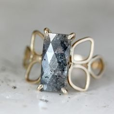 Gray Diamond Filigree Ring