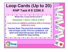"""Loop Cards (Up to 20)"" - I can solve an addition sentence with a missing addend or sum. Supports learning Common Core Standards: 1.OA.6, 1.OA.8, 2.OA.2 [KNP Task # S 2296.5]"