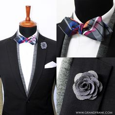Another amazing ensemble by @Grandfrank_official. This silk check bow tie and microfiber lapel pin are, among many other great products, available in their online store: www.Grandfrank.com - Free Shipping Worldwide!
