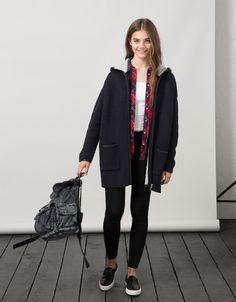 BSK hooded imitation leather detail jacket