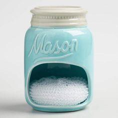 Blue Mason Jar Ceramic Sponge Holder #affiliate