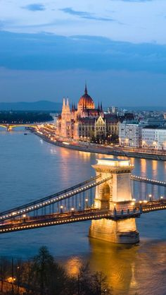 Hungary - Budapest  - We stayed on the Buda side, with this view of the Parliament building, the beautiful Danube river, and the Chain Bridge