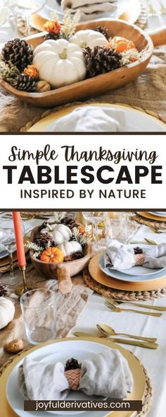 Create a simple, but beautiful tablescape for Thanksgiving, inspired by nature. This table decor is budget-friendly, and make the most of items you already have on-hand. I put this table together in under an hour! Use these ideas to inpsire your own beautfiul, affordable Thanksgiving table decor.