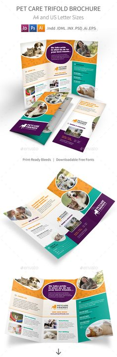 Pet Care Trifold Brochure Template #design Download: http://graphicriver.net/item/pet-care-trifold-brochure/11334344?ref=ksioks