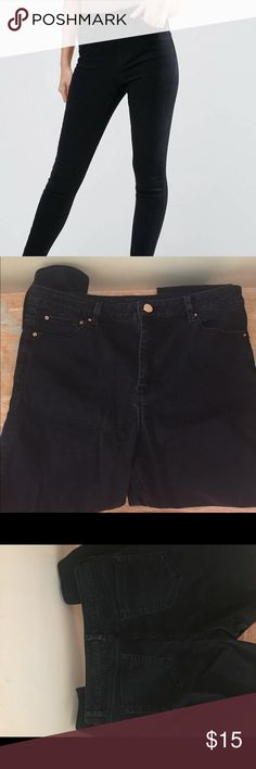 ASOS high waist skinny jeans Size 34x32, can fit a 12-14. High waist, black a/gold button. Zip fly. Worn once-I washed theses after i wore them and out them through the dryer, which faded he color slightly. Price reflects-great price for a pair of jeans in perfect condition! Asos Jeans Skinny
