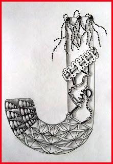 Tekenpraktijk De Innerlijke Wereld: ABC - Tangled Alphabet J: Tangle - Lokomotiv, Beadlines, Eyelet Ribbon, Connector, MEO