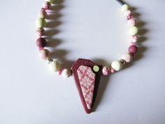 Collier pendentif rose et vert anis pâte polymère : Collier par lisartbijoux