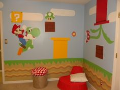 mario bros., all of the details have been hand painted to look just like super mario bros game., made stool to look like a mushroom :) , Boys Rooms Design