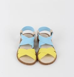 Elastics sandals Blue+yellow - perfect colors. From KNOT - Portuguese kids clothes/shoes brand.