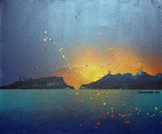 An original painting & prints of Eigg and Rum, Scottish Western Isles.  Original mixed media painting in acrylic paint, spray paint, oil paint and acrylic ink on box canvas.  Original painting sold, prints available below.  (REF: RRET6) A range of framed, unframed and mounted prints are available - See more at: http://www.scottishlandscapepainting.co.uk