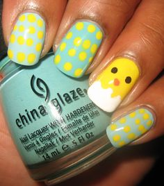 easter nails, i love the blue with yello polka dots