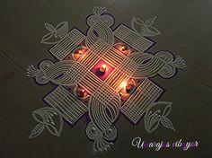Rangoli by Umarajas vibgyor.one of the excellent rangoli artist. Indian Rangoli Designs, Beautiful Rangoli Designs, Kolam Designs, Mehandi Designs, Diya Rangoli, Flower Rangoli, Rangoli Patterns, Rangoli Ideas, Padi Kolam