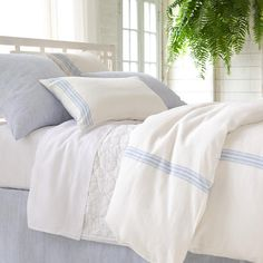 Pine Cone Hill | Corsica Linen Sham | This sham is all about lightweight ease with the look and comfort of your favorite, faded blue jeans. Knife edge, tieback closure.