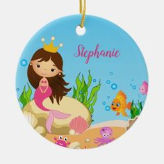 Under the Sea Cute Brunette Mermaid Custom Name Ceramic Ornament Mermaid Home Decor, Mermaid Ornament, Cute Brunette, Mermaid Tale, Mermaid Gifts, White Elephant Gifts, Kids House, Sea Creatures, Gifts For Girls