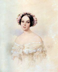 Olga Skobeleva by Vladimir Ivanovich Hau, 1842