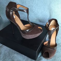 L.A.M.B. Brown Peppa T-strap Heels -MLK SALE!⬇️ LAMB brown Peppa T-strap Heels.  Only worn a couple times.  Will come with box, one shoe bag and extra set of heel taps.  Side snap closure for shoe is a little tight to get my foot in, but very comfortable once on.  That might just be hard for me but wanted to mention it.   Please note there is a slight mark on the underside arch of each heel due to sticker.  Can be seen in photo.  NO TRADES OR PAYPAL-THANK YOU. L.A.M.B. Shoes Heels
