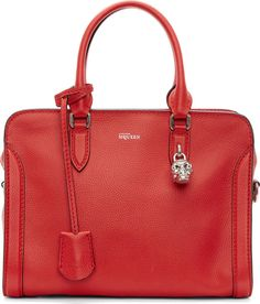 Alexander McQueen - Flame Red Leather Skull Padlock Small Bag