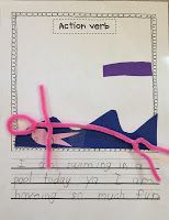 Cute verb activity with pipe cleaner people
