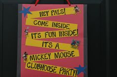 Mickey Mouse Clubhouse door sign I made for my son Nolan's 1st Birthday
