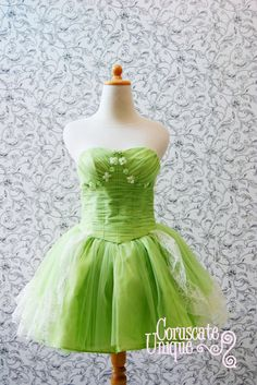 Green Puffy Tutu Bustier Short Wedding Dress  by CoruscateUnique, $165.00