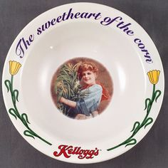 Kellogg's Collector Cereal Bowl Ceramic The Sweetheart Of The Corn #3 of 4 1996  | eBay