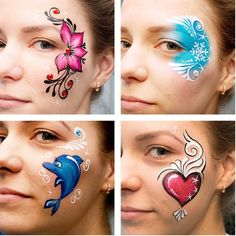 When you think about face painting designs, you probably think about simple kids face painting designs. Many people do not realize that face painting designs go Face Painting Images, Face Painting Flowers, Face Painting Tips, Girl Face Painting, Face Painting Tutorials, Face Painting Designs, Face Paintings, Mime Face Paint, Christmas Face Painting