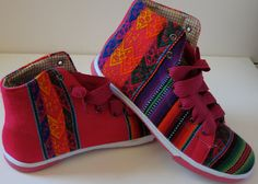 Rainbow high top sneakers with vintage manta by daughterofthesun, $88.00
