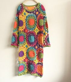 crochet tunic crochet dress et item 1035 by mooncakeshop Moda Crochet, Crochet Tunic, Freeform Crochet, Crochet Granny, Crochet Yarn, Crochet Clothes, Crochet Top, Crochet Flowers, Crochet Long Sleeve Tops