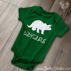 Babysaurus Infant Onesie, Matching Dinosaur Kids Clothes, T-Rex, Baby Shower Gift, Funny Baby One-Piece Bodysuit, Made to Order