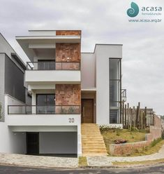 Discover recipes, home ideas, style inspiration and other ideas to try. Modern Exterior House Designs, Small House Exteriors, Exterior Design, Modern Tropical House, Modern Cottage, Duplex House Design, House Front Design, House With Balcony, Modern Contemporary Homes