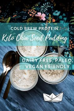 This Cold Brew Protein Chia seed pudding is delicious. Creamy and thick and pack. - This Cold Brew Protein Chia seed pudding is delicious. Creamy and thick and packed with dairy free, - Protein Chia Seed Pudding, Chia Pudding, Healthy Foods To Make, Food To Make, Healthy Recipes, Keto Foods, Whole30 Recipes, Ketogenic Recipes, Keto Friendly Desserts