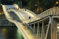 Paris--Passerelle Simone de Beauvoir by Dietmar Feichtinger Architectes. Pedestrian bridge created by the overlay of the two curves Bridges Architecture, Landscape Architecture, Architecture Design, Paris Architecture, Beautiful Architecture, Contemporary Architecture, Urban Landscape, Landscape Design, Pont Paris