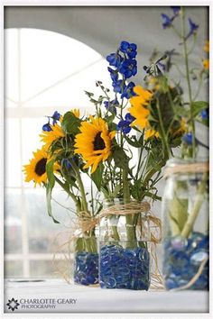 Blue & yellow flowers - simple and charming.