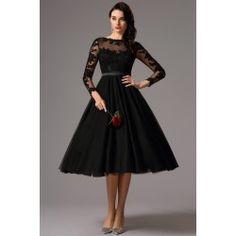 Společenské uhrančivé nádherné černé tylové šaty s délkou pod kolena a dlouhým krajkovým rukávem