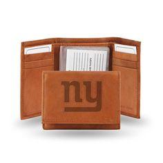New York Giants NFL Tri-Fold Wallet (Pecan Cowhide)