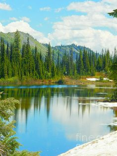 Title:  Reflection Lake - Mount Rainier National Park   Artist:  Photography Moments - Sandi   Medium:  Photograph - Print - Painting - Photography