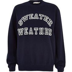 Navy sweater weather print sweatshirt - sweaters / hoodies - t shirts / vests / sweats - women