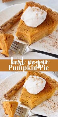 The best vegan pumpkin pie recipe from scratch, easy like Sunday morning this pumpkin filling topped with a dollop of coconut whipped cream is pure heaven! Healthy Breakfast Recipes For Weight Loss, Healthy Summer Recipes, Healthy Meals For Two, Vegan Desserts, Raw Food Recipes, Delicious Desserts, Vegan Recepies, Punkin Pie Recipe, Cakes That Look Like Food