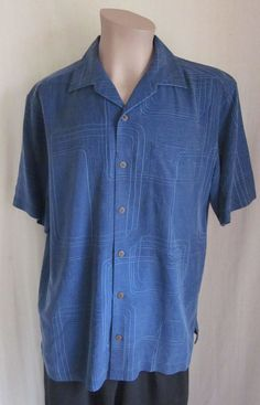 TOMMY BAHAMA Men's 100% Silk Blue Geometric Pattern Camp Shirt M Medium #TommyBahama #ButtonFront