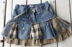 Recycled denim jean design skirt