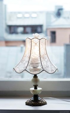 DIY Crafts You Can Make with Lace | Cool DIY Ideas for Fashion, Decor, Gifts, Jewelry and Home Accessories Made With Lace | Redress a Lampshade with a Pair of Lace Tights | http://diyjoy.com/diy-crafts-ideas-with-lace