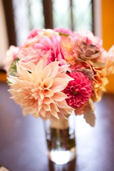 Love these locally grown dahlias in the bridal bouquet! Designed by Local Color Flowers