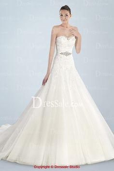 Airy Tulle Princess Wedding Gown Featuring Delicate Appliques and Beaded Waistband