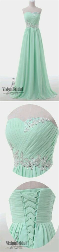 Sweetheart A-Line Floor Length Prom Dress, Mint Green Beading Lace Up Prom Dress, Popular Prom Dress, VB0205 #promdress