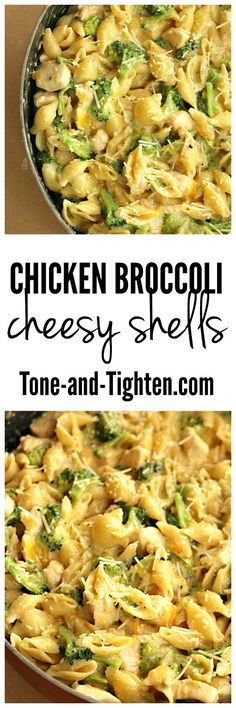 Comfort food that is actually good for you? Sign me up! This healthy dish is one that my whole family enjoys (even the pickiest of eaters! Print Chicken Broccoli Cheesy Shells Skillet Recip easy dinner recipes for family Heart Healthy Recipes, Healthy Dishes, Healthy Dinner Recipes, Diet Recipes, Healthy Snacks, Chicken Recipes, Healthy Eating, Cooking Recipes, Bariatric Recipes