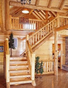16 Marvelous Rustic Staircase Ideas You Need To See Rustic Staircase, Open Staircase, Staircase Design, Staircase Ideas, Log Cabin Living, Log Cabin Homes, Log Cabins, Diy Stair Railing, Log Home Decorating