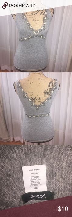 J.Crew tank wool/cashmere blend Deep V neck tank with sewn in embellishment including waist. Deep V in back as well. J. Crew Tops Tank Tops
