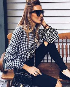 "28.2k Likes, 152 Comments - LIKEtoKNOW.it (@liketoknow.it) on Instagram: ""Go for gingham with inspiration from @karinastylediaries's monochrome balloon sleeved blouse 